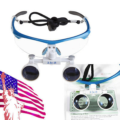 Dental Us Stock Blue Magnifier Loupes Binocular Glasses 3.5x-r Lightweight