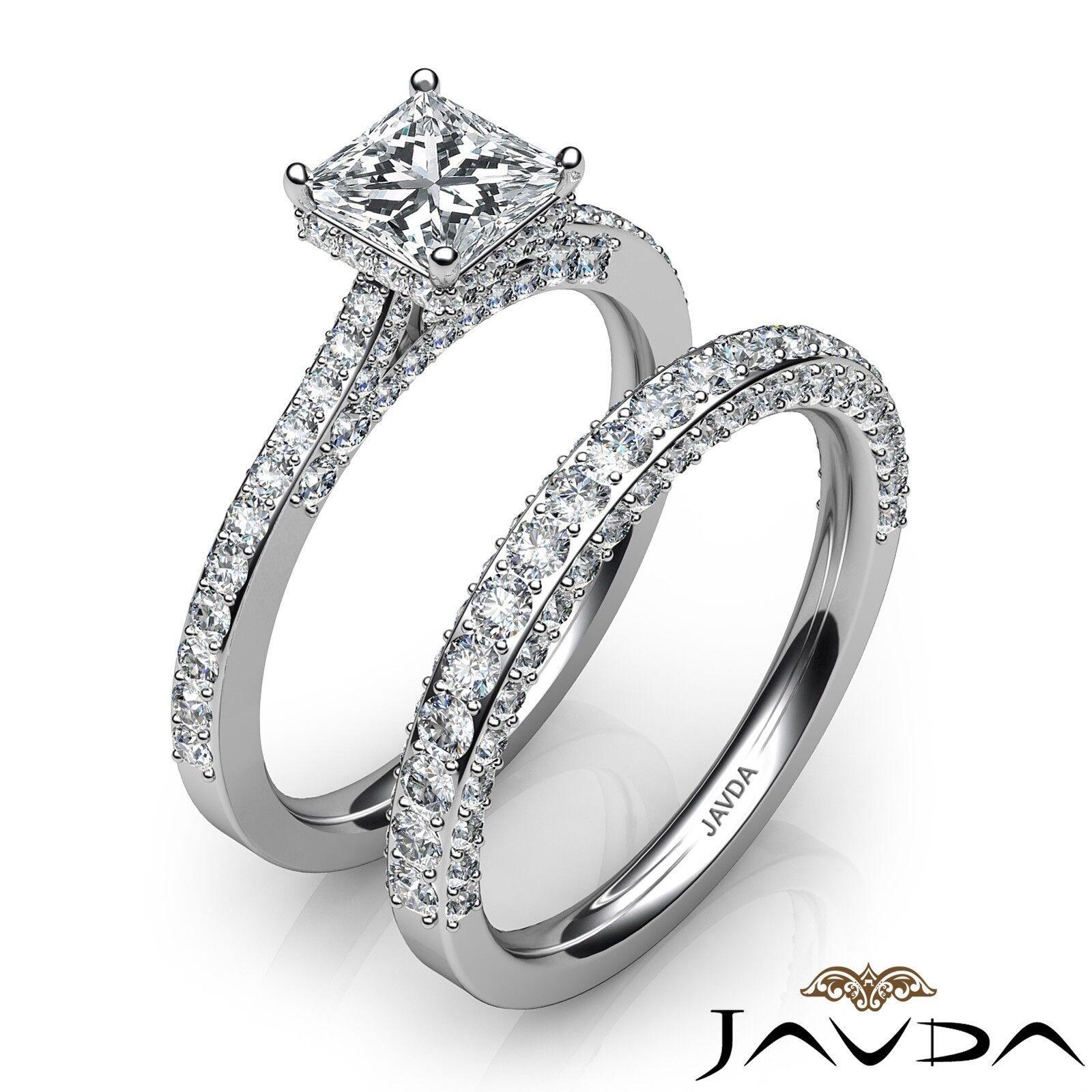 2.35ctw Circa Halo Pave Wedding Set Princess Diamond Engagement Ring GIA G-VVS1 2