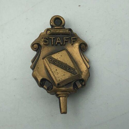 Vintage Yearbook Staff High School Lapel Pin Award   Q3
