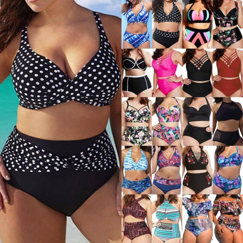 Übergröße Damen Gepolsterter Bikini Sets Push Up Schwimmanzug Bademode Badeanzug