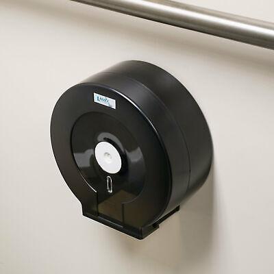 Black Plastic Locking Jumbo Toilet Paper Tissue Dispenser - Fits 9 Single Roll