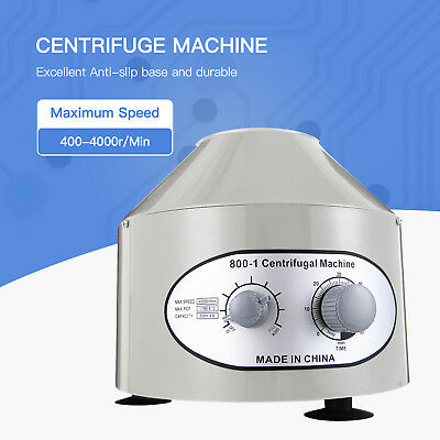 Electric Centrifuge Machine Lab Laboratory Medical 800-1 4000rpm W 6x20ml Rotor