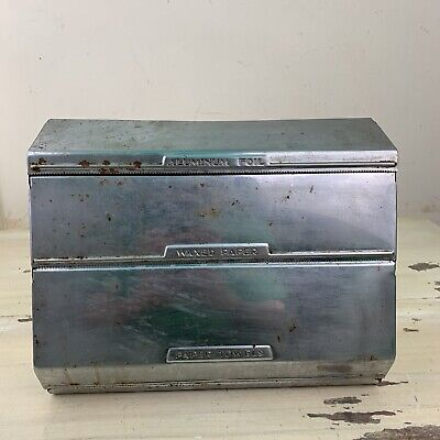 KITCHEN DECOR - Vtg 50s Rustic Chrome Paper Towel Wax Paper Foil Dispenser