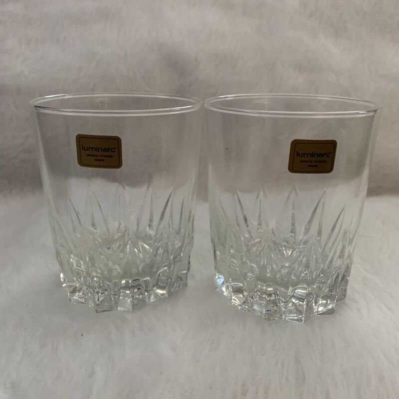 Luminarc Verrerie D'arques Set Of 2 Clear Glasses France Whiskey Juice Bar Ware