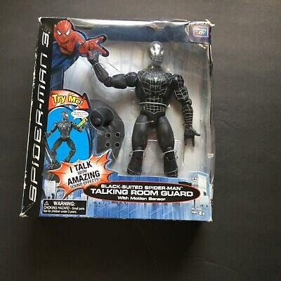 "Black-Suited Spider-Man 3 Talking Room Guard 9"" Poseable Action Figure -Marvel"