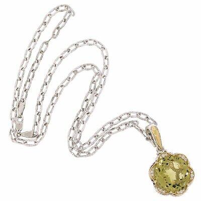 Designer Jewelry 18K Gold 925 Silver Citrine Diamond Pendant Chain Necklace