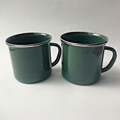 Set of (2) GSI Outdoors 12oz Green Enamelware Stainless Steel Rim Camping Cup