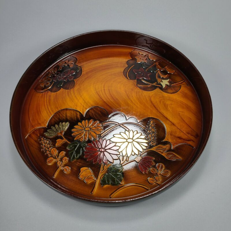 """Vintage Toyo Round Wood Tray Carved Floral Motif 13"""""""