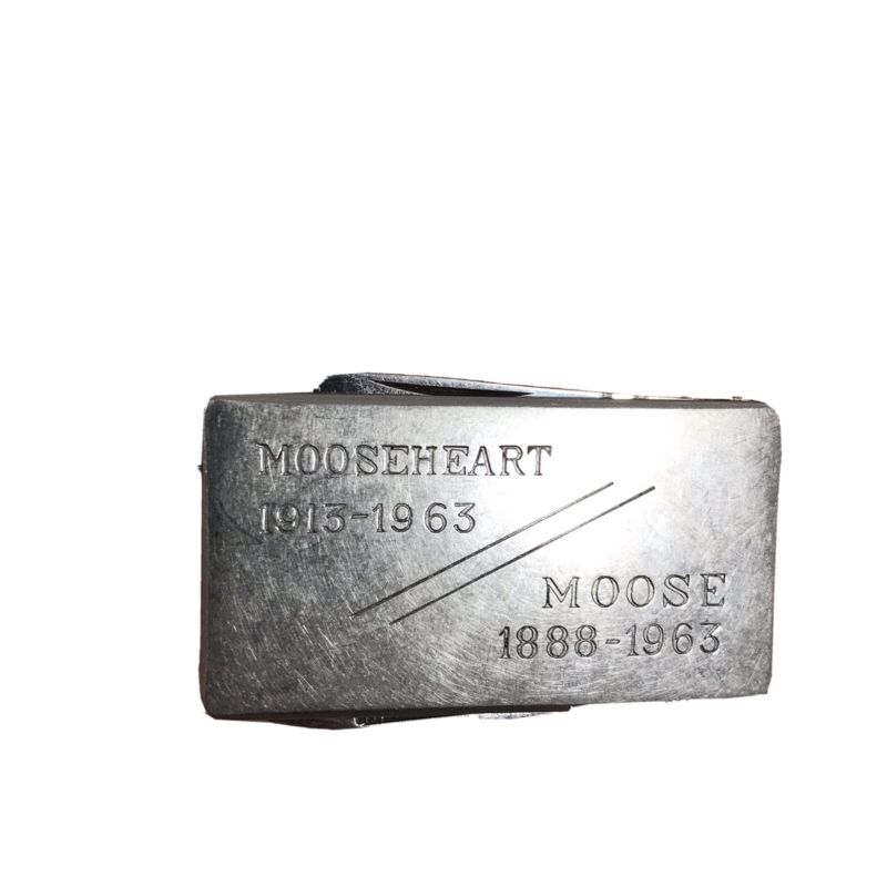 Vintage Moose Mooseheart Money Clip Pocket Knife Nail File Combo Stainless Japan