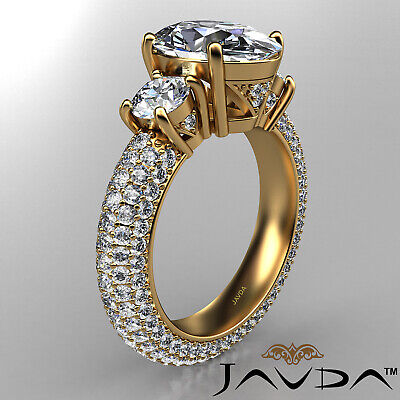 Women's 3 Stone Pave Set Oval Cut Diamond Engagement Ring GIA F Color VS2 3.8Ct 6