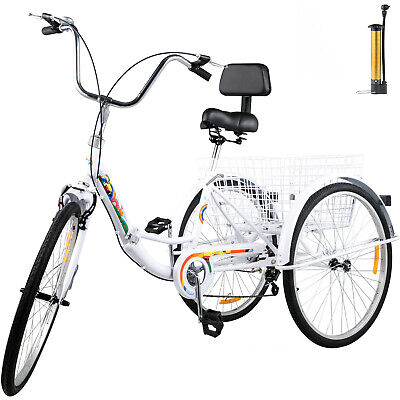 Foldable Adult Tricycle Folding Adult Trike 26'' 7 Speed Whi