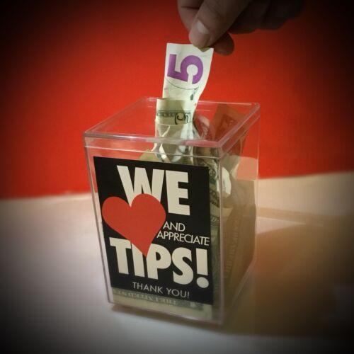 """Tip Jar, Tip Box Clear Plastic, """" WE LOVE TIPS"""" bartenders, servers"""
