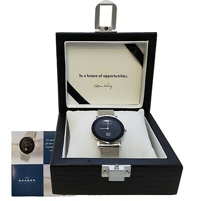 New SKAGEN Ultra Slim BLACK FACED Watch, Wooden Box Case