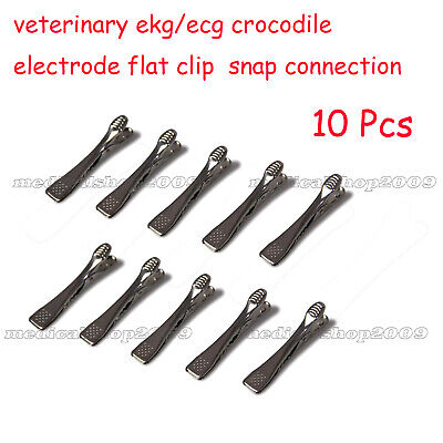 Veterinary Ekgecg Crocodile Electrode Flat Clip Snap Connection Bag Of 10pcs
