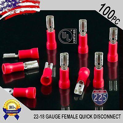 100 Pack 22-18 Gauge Female Quick Disconnect Red Vinyl Crimp Terminals .110 Us