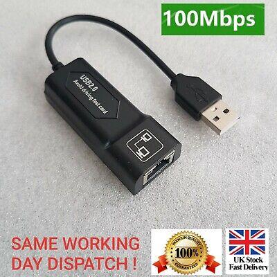 100Mbps USB 2.0 To RJ45 Fast Ethernet LAN Adaptor Cable Plug &...
