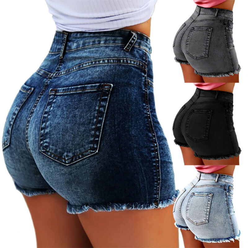 Vintage Women Strench Denim Summer High Waisted Shorts Slim