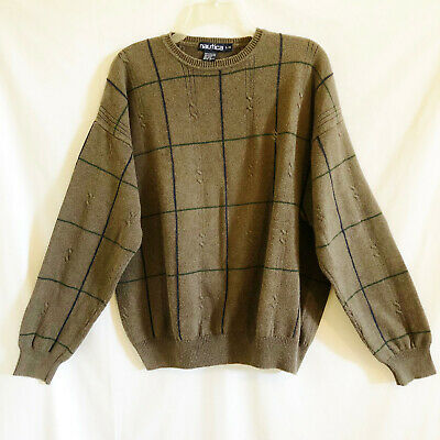 Nautica Sweater Pullover Brown Crew Neck Long Sleeves Windowpane Plaid Mens L