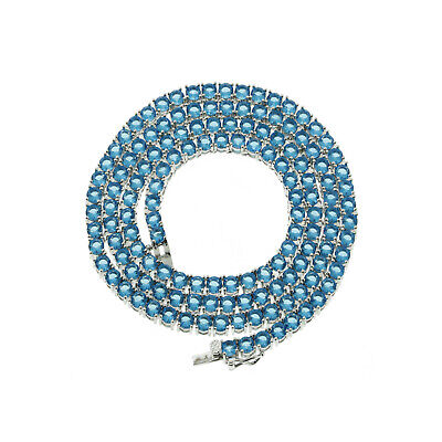 Mens Solitaire 4MM Tennis Chain Necklace Silver Finish Blue Lab Diamonds 18-24''