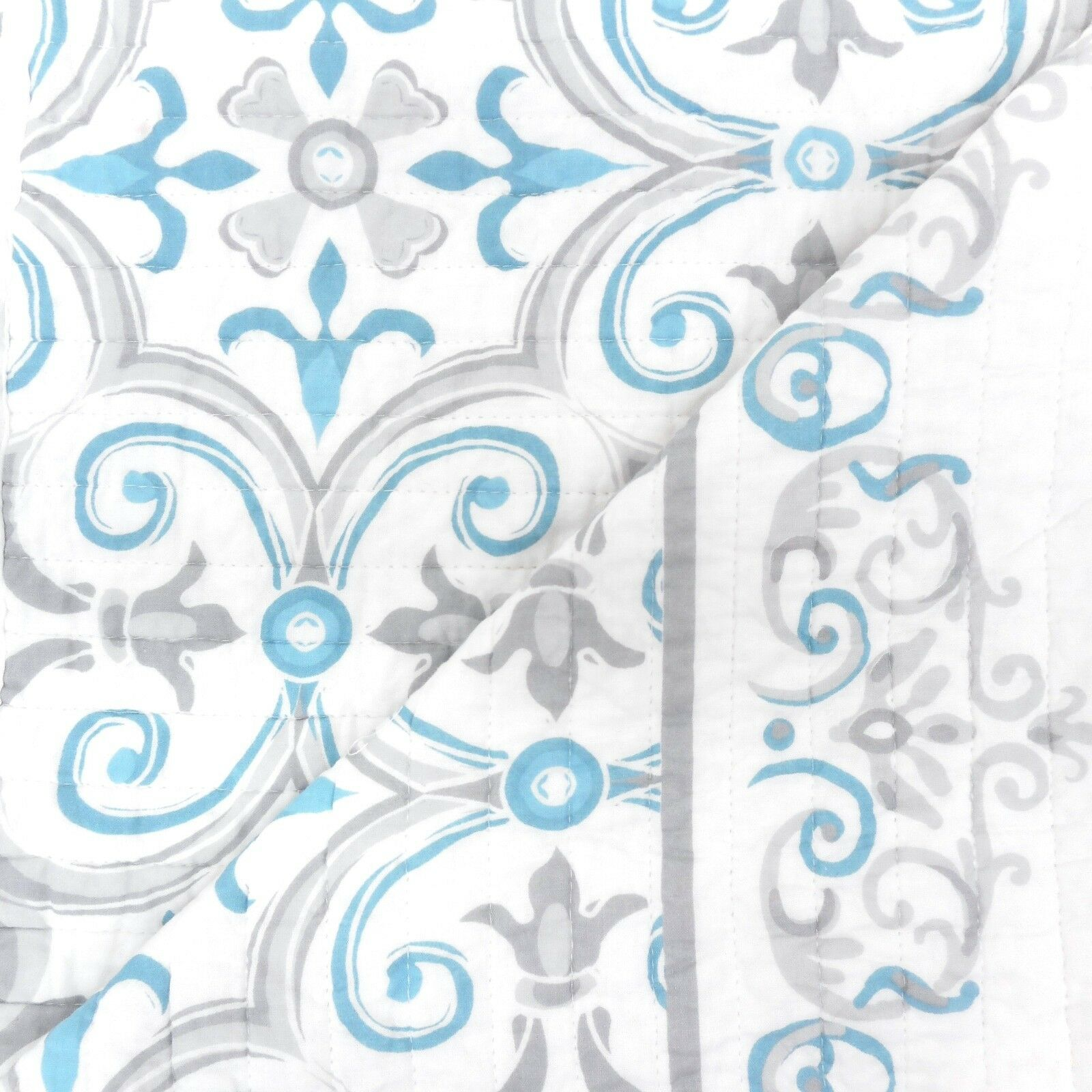 ARCHITECTURAL Scroll QUEEN QUILT SET Teal Blue Grey White CO