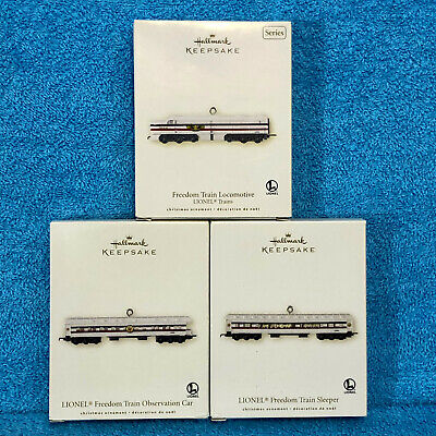 2007 Hallmark Keepsake Christmas Ornaments Set of 3 Lionel Freedom Train NIB