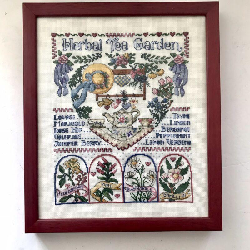 "VTG ""Herbal Tea Garden"" Completed Cross Stitch Professionally Framed 11x13 frame"