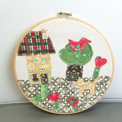 Completed Patchwork Applique Hoop Wall Art Handcrafted Rustic Country Farmhouse