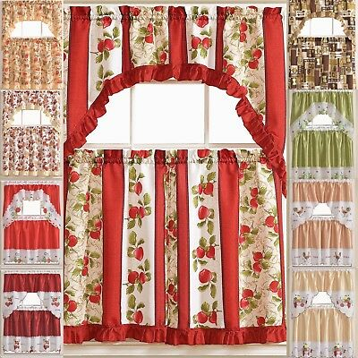 Kitchen Curtains 3 Pc. Set with Attached Valance Tier and Swag Set Red Brown - Kitchen Tier Curtain
