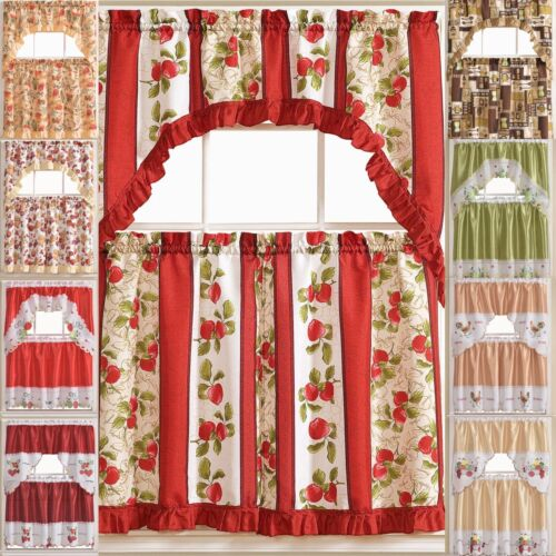 Kitchen Curtain 3 Pc. Set with Attached Valance Tier and Swa
