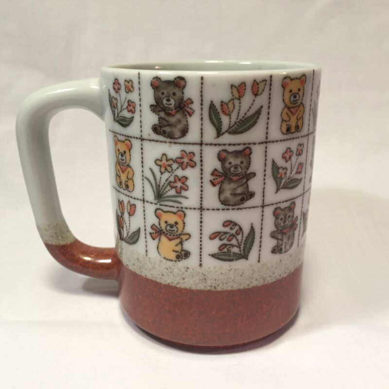 Vtg Otagiri Teddy Bears And Flowers Coffee Mug Floral Japan