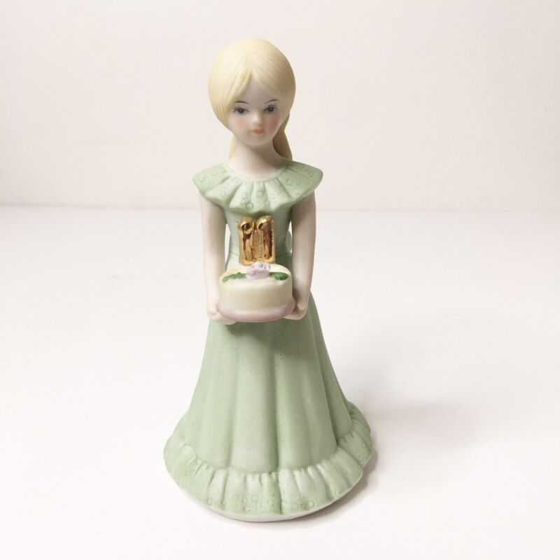 Enesco 1982 Birthday Growing Up Girls Age 11 Blonde Porcelain Figurine