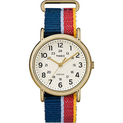 Timex Weekender   Red Blue Slip Through Strap 24 Hour   Casual Watch Tw2r10100