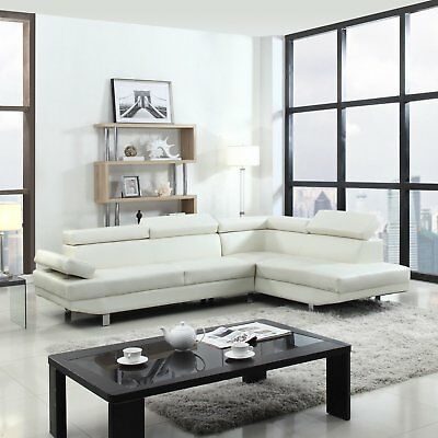 - Modern Contemporary White Faux Leather Sectional Sofa, Living Room Set