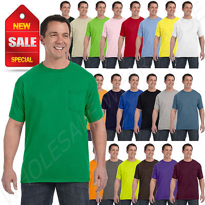 Hanes Mens Pocket T-Shirt 100% Cotton ComfortSoft Heavy Tagl