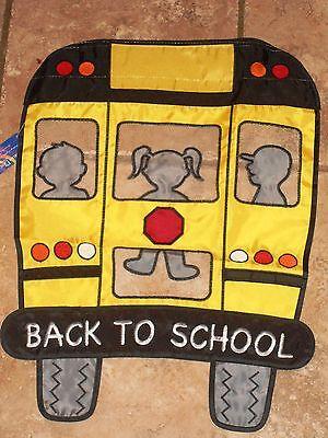 Applique Mini Back-to-School Flag School Bus Classroom/Yard/Garden/Home - Mini Appliqued Garden Flag