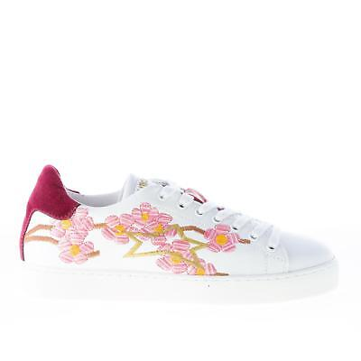 ISHIKAWA women shoes White leather Down sneaker pink flowers embroidery velvet