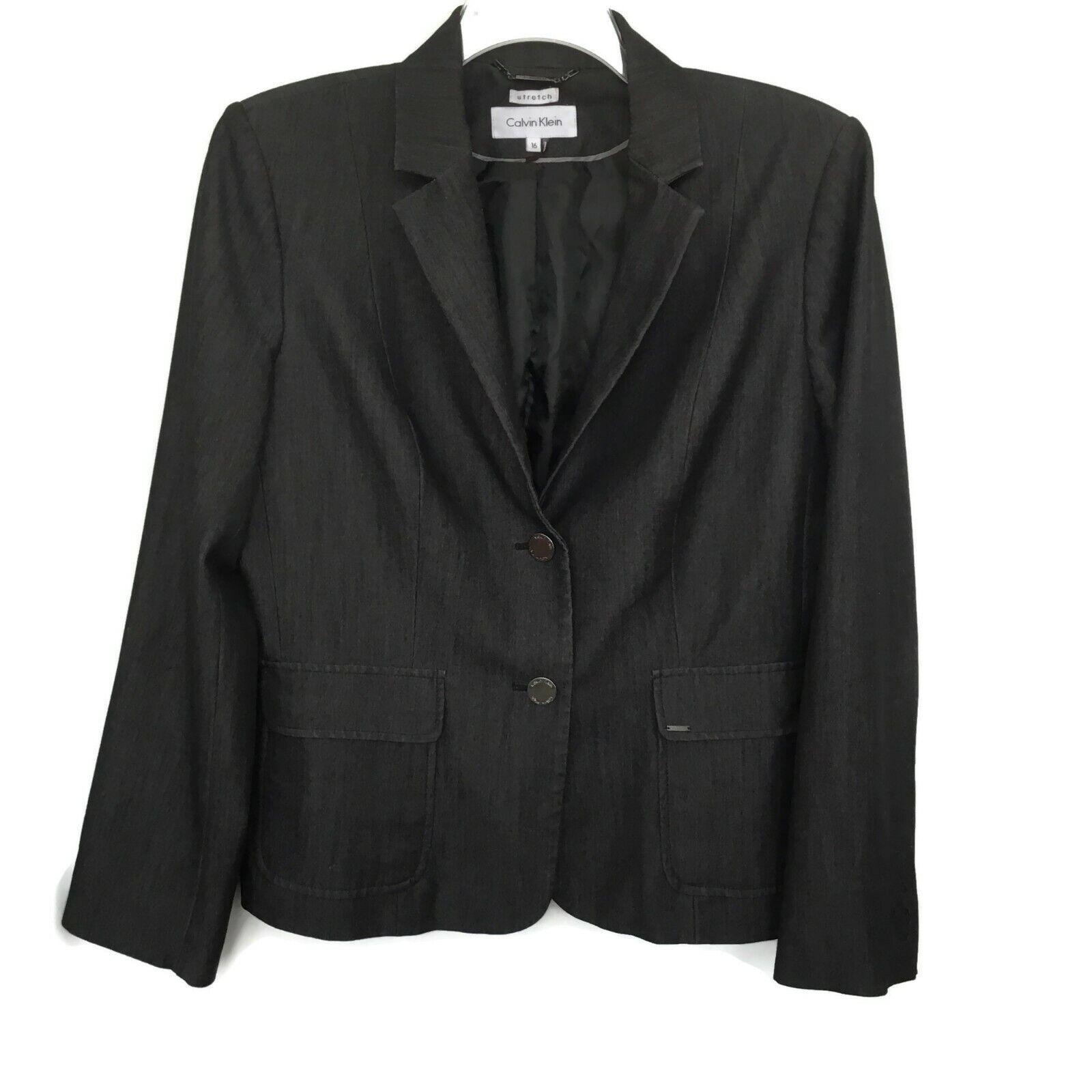 Calvin Klein Denim Blazer Jacket Women 16 Black Career Busin