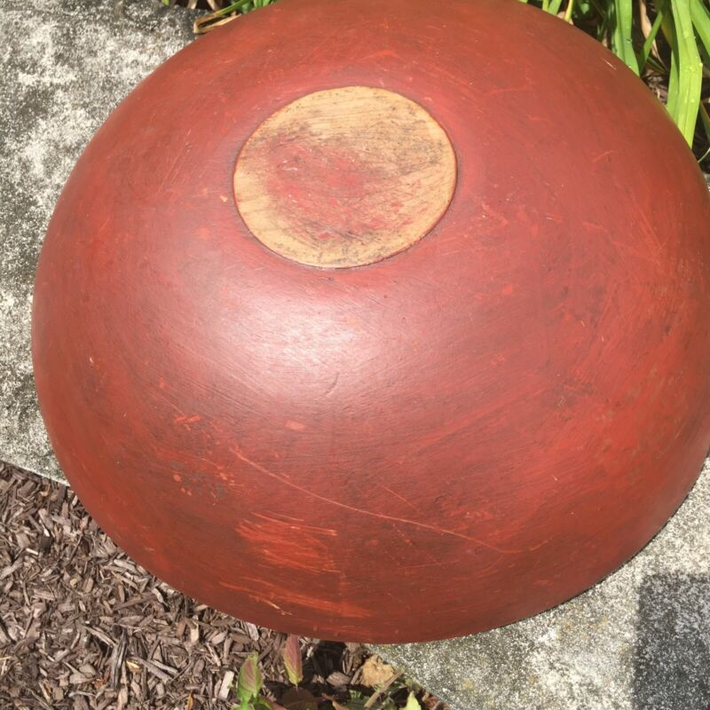 "Antique Primitive 15"" Original Red Dough Bowl Aafa"