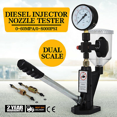 ET Neu Diesel Einspritzdüsen Prüfgerät Dualskala Manometer 0-600 Bar 0-8000 PSI