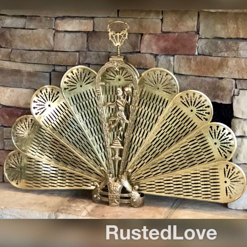 """XL Vintage Art DECO Fireplace screen Brass Ornate Peacock Fan RARE 47"""" W*"""