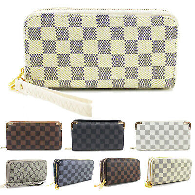 Ladies Women's Designer Inspired Checked Purse Folded Gold Tone Wallet New