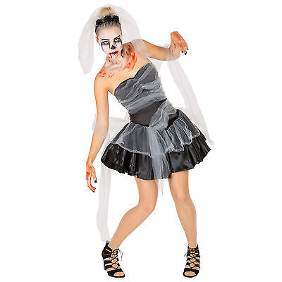 Schwarze Witwe Kostüm Halloween Karneval Fasching Damen Kleid Horror Zombie ()