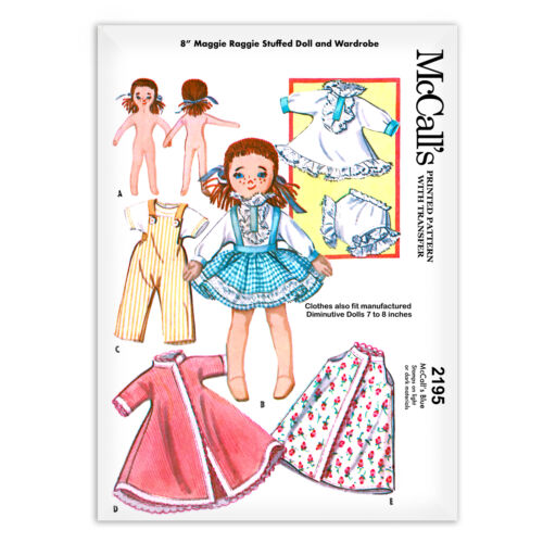 """Rag Doll Maggie and Clothes Sewing Pattern Cloth McCALL s 2195 Small 7"""" 8"""""""