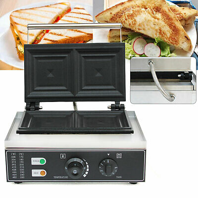 1500w Commercial Electric Sandwich Maker Machine Grill Plates 2 Bread Toaster