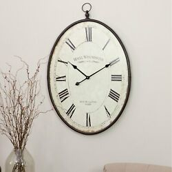 Large Wall Clock Big Vintage Rustic Look Antique Distressed Metal 36 inch Tall