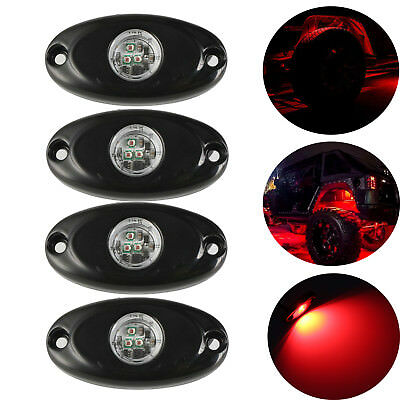 "4x 2"" RED CREE LED Rock Light Off-Road Underglow Foot Wheel Well Light Truck 9W"