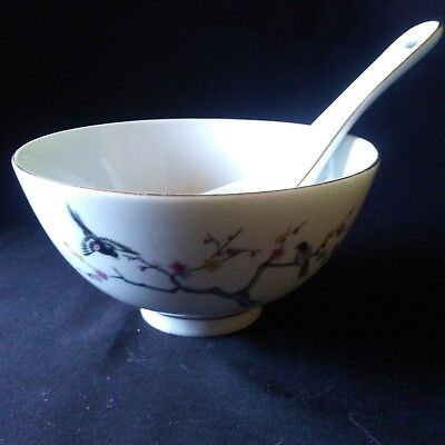 Golden China C.Y.H. Rice Pho Bowl Dessert Birds with Gold Trimmed Spoon Golden Rice Bowl