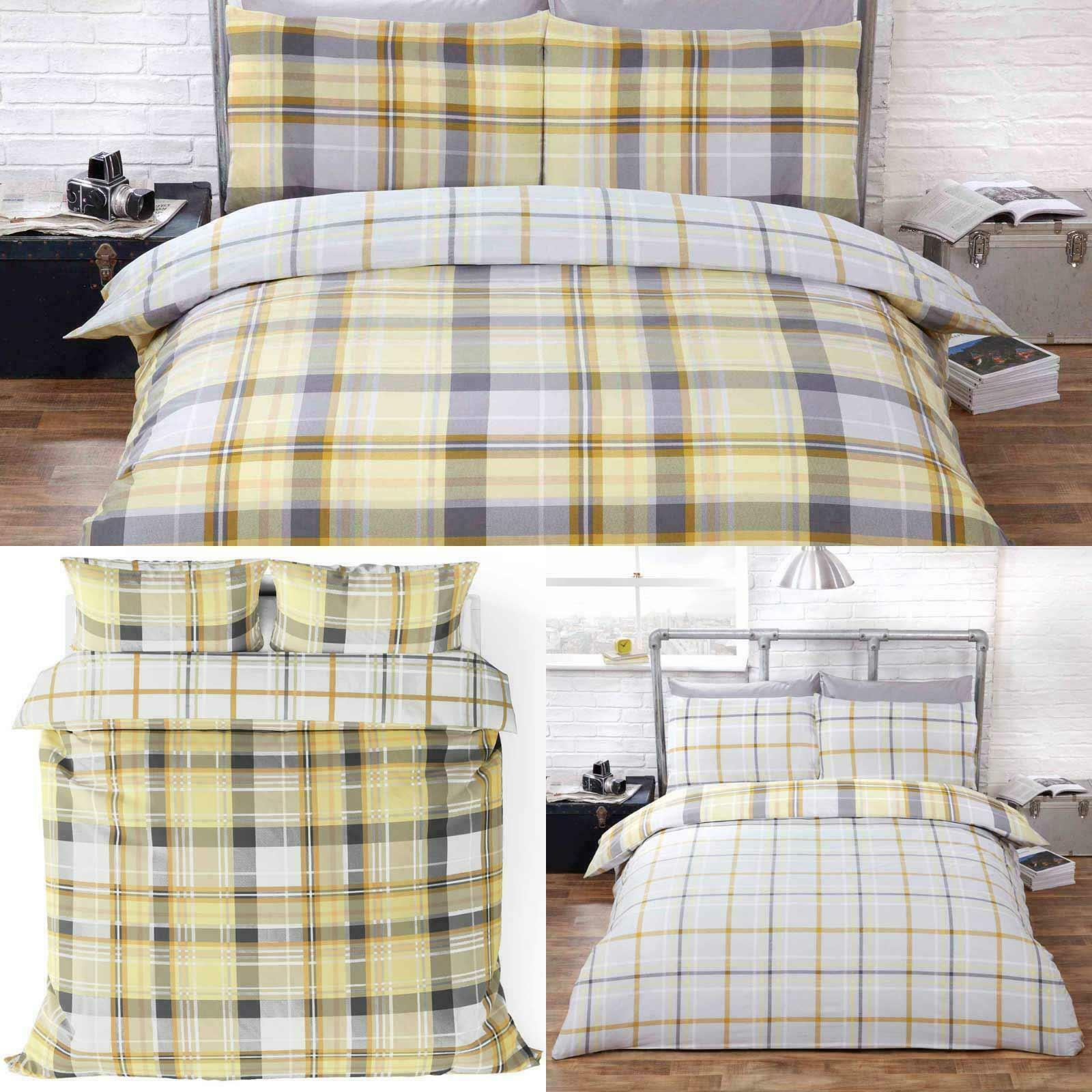 Ochre Duvet Covers Yellow Reversible Tartan Check Hamilton Quilts Bedding Sets Ebay