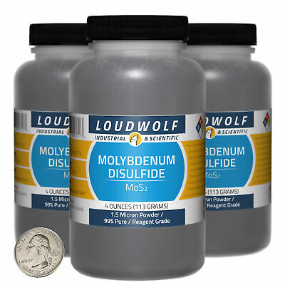 Molybdenum Disulfide 12 Oz 3 Bottles 99 Reagent Grade 1.5 Micron Powder