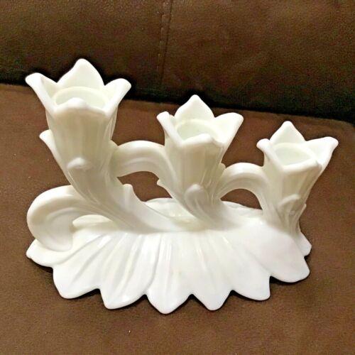 Westmorland Milk Glass Triple Candleholder Lotus Pattern Vintage